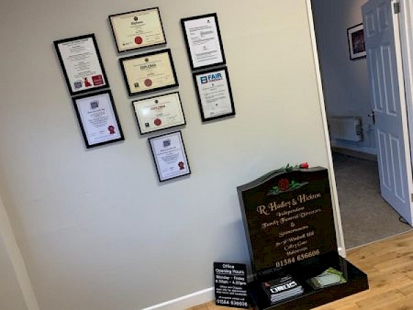 Certification display at our Haleswoen branch.